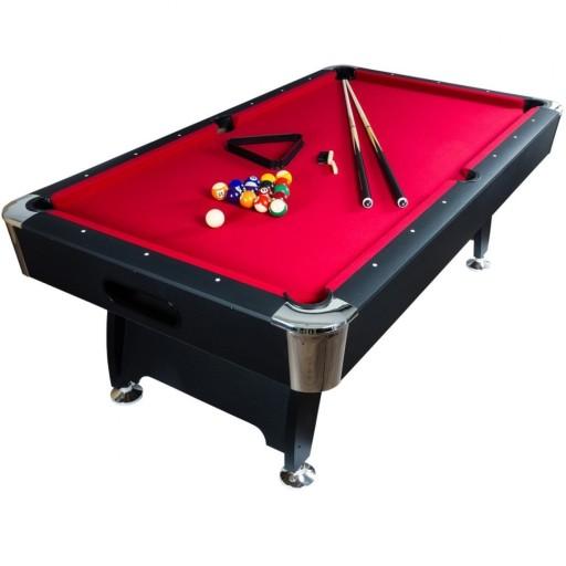 Stół Bilardowy Czarny 8ft Premium Sukno Czerwone