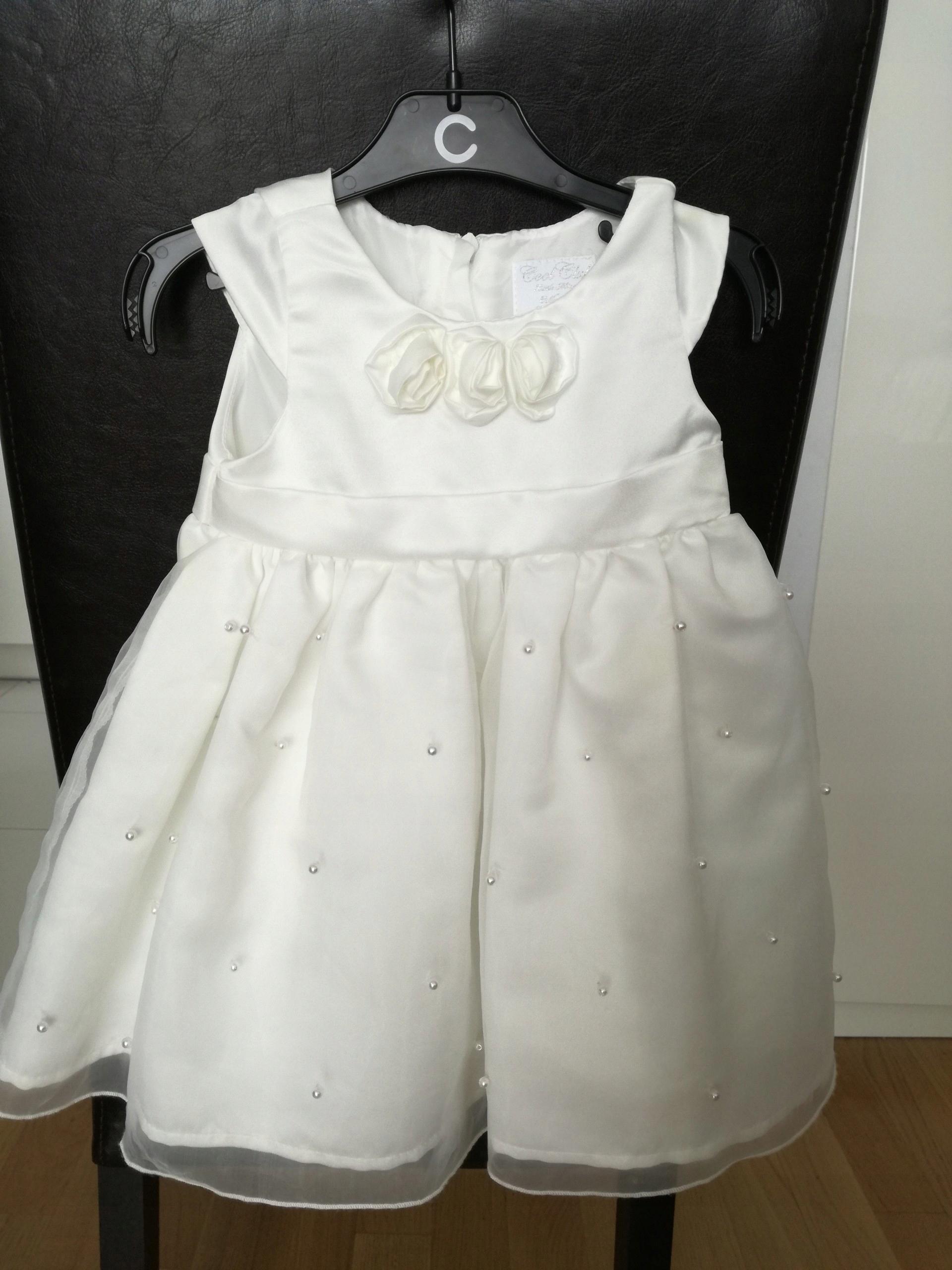 1078716ae9 Sukienka na chrzest rozmiar 74 biała koraliki róże - 7434215637 ...