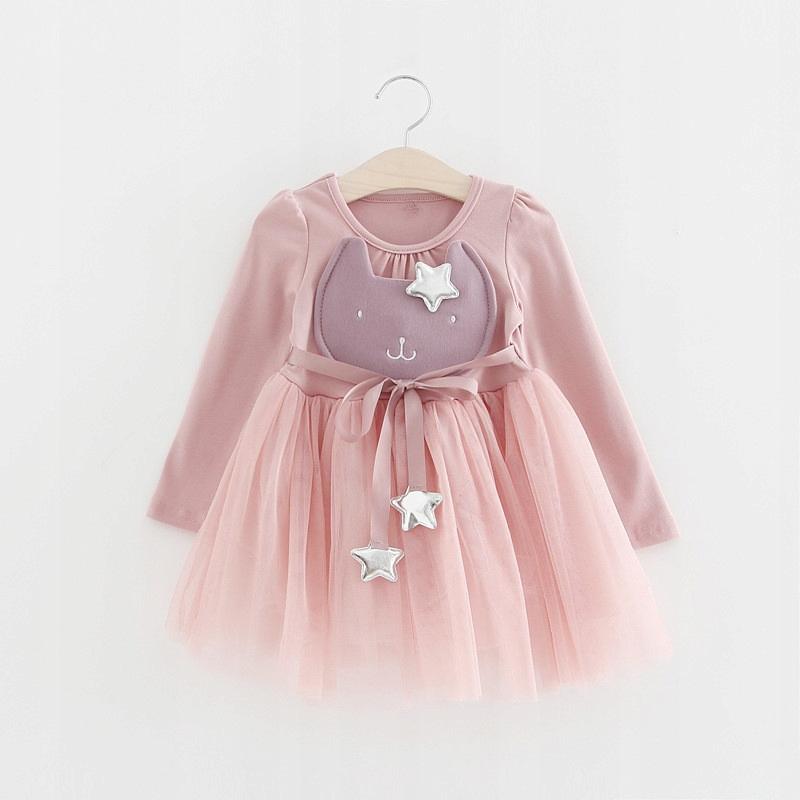 4c88cab596 Cudna bawełniana sukienka kotek gwiazdki tiul 4L - 7262842530 ...