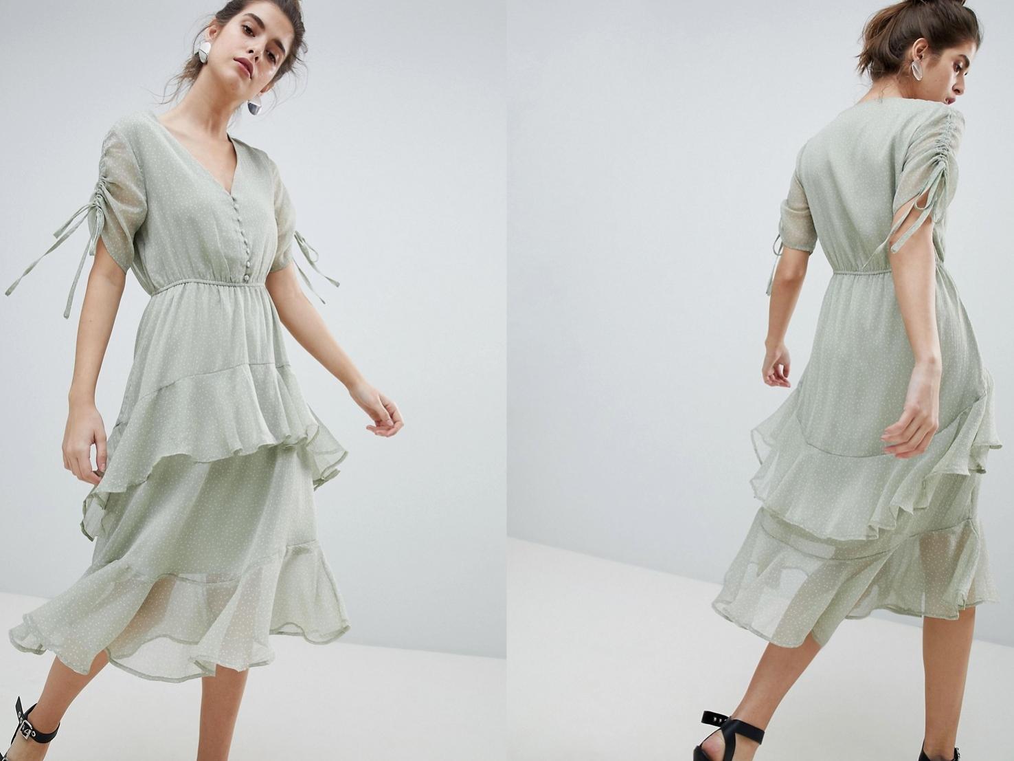 469d6bbbb8 Neon Zielona Sukienka w Grochy Falbana XS 34 - 7385329973 ...