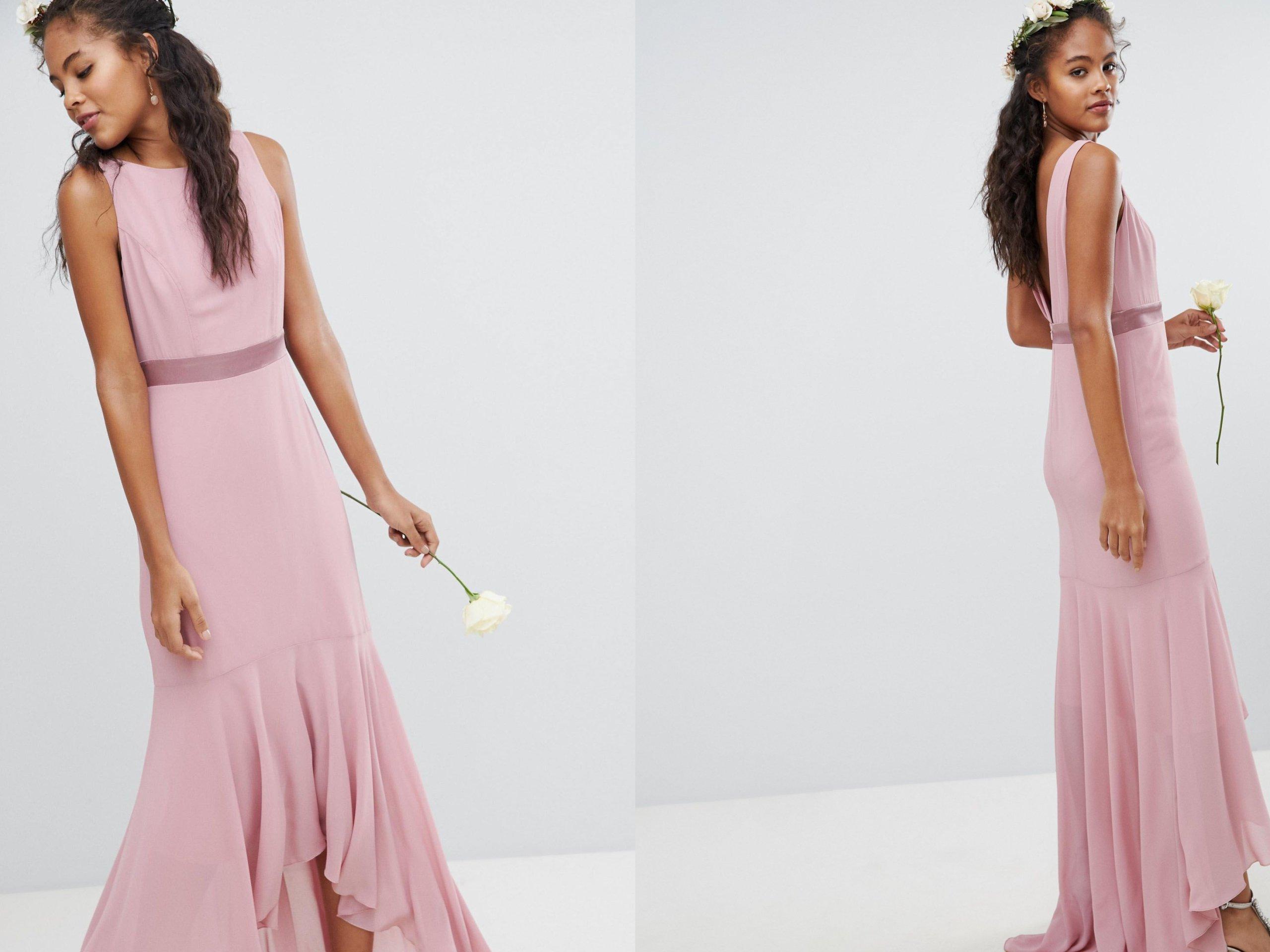 6637227283 TFNC Różowa długa wieczorowa sukienka S 36 - 7240074275 - oficjalne  archiwum allegro