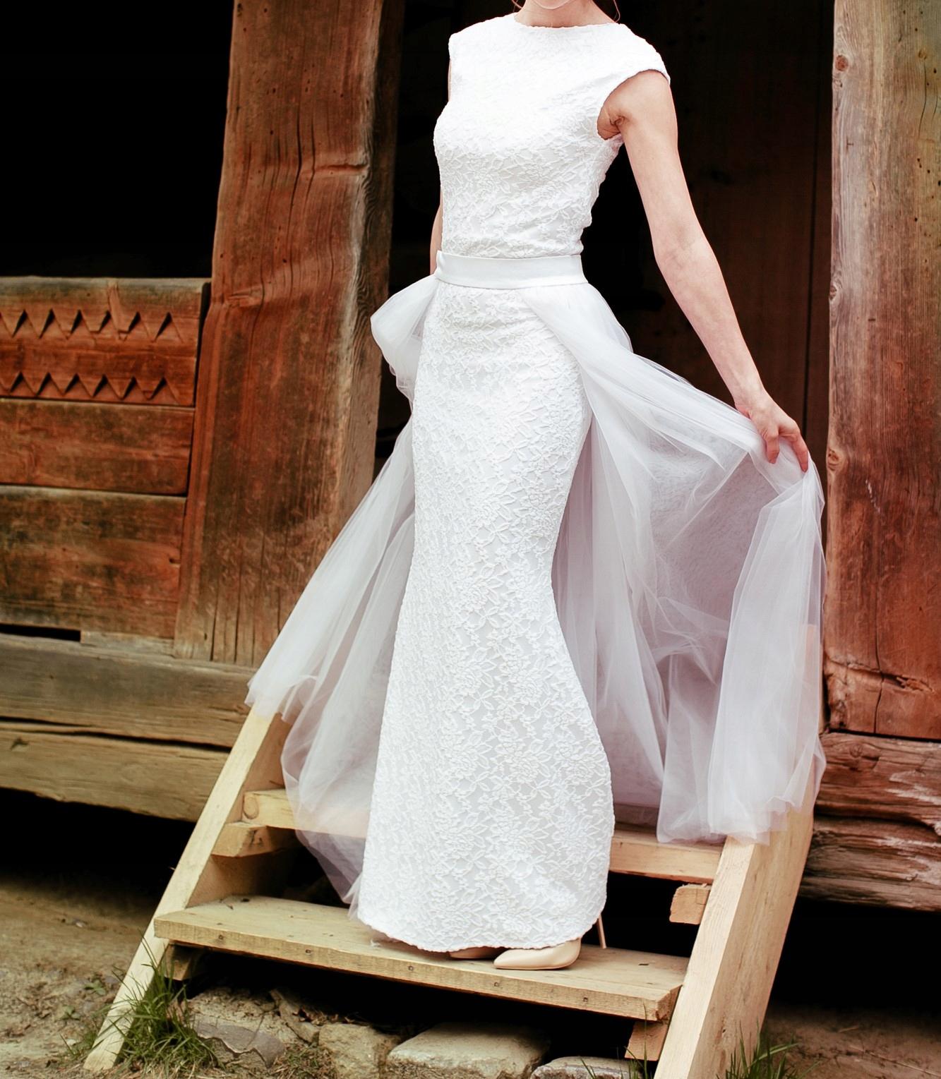 Suknia ślubna Dopasowana Z Trenem 2w1 Rxss 7588855660