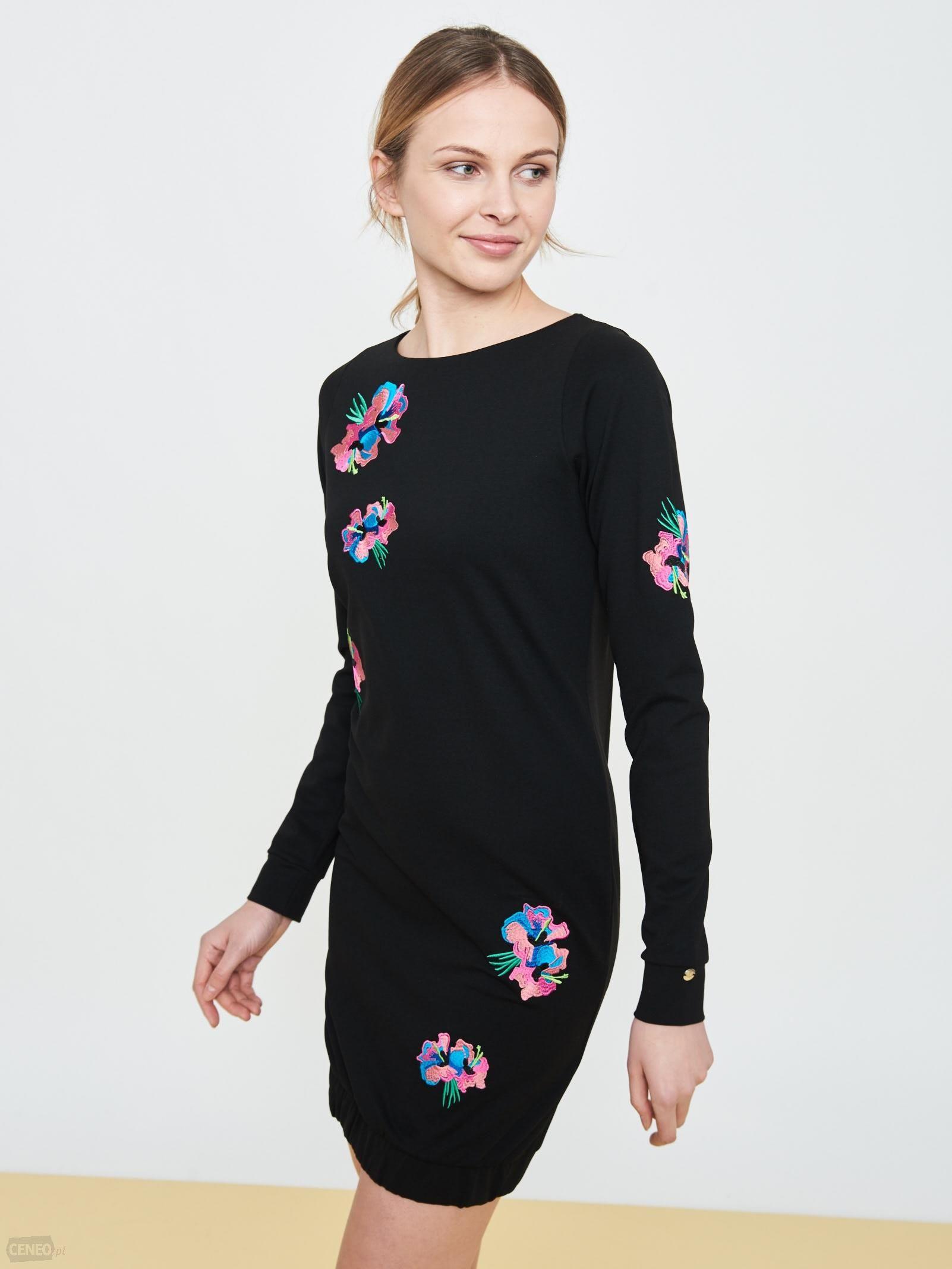 9fa06e7b06 SIMPLE R.34 sukienka dzianinowa czarna kwiaty - 7302460043 ...