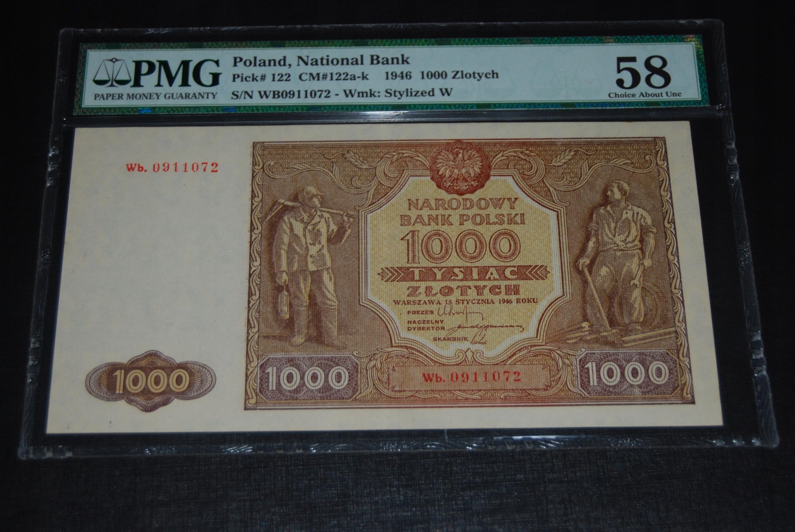 1.000 ZŁOTYCH 1946 Wb. ZASTĘPCZA STAN UNC- PMG58
