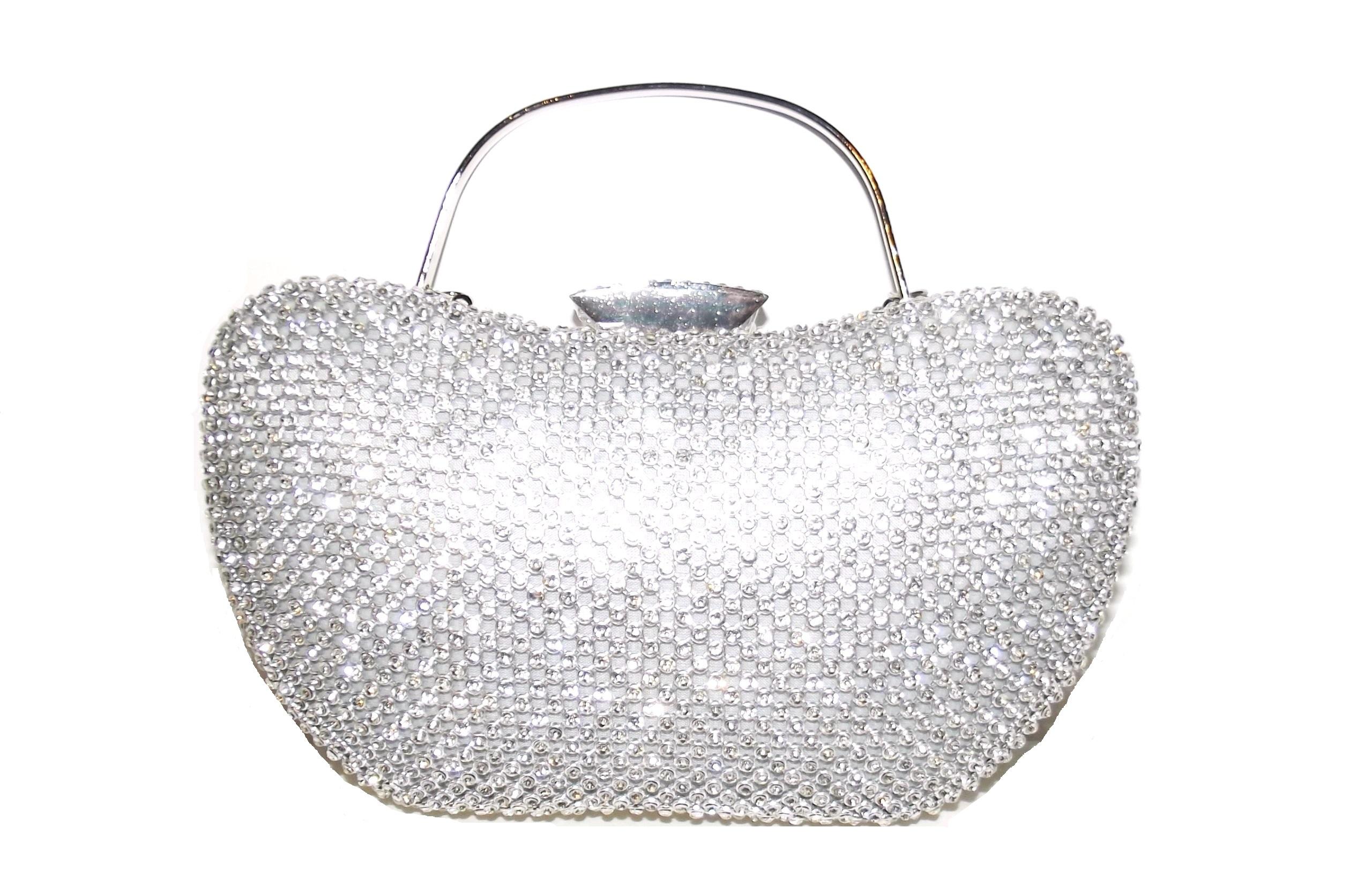 50751ad8a08fb wieczorowa srebrna torebka wizytowa kryształki - 7099102493 ...