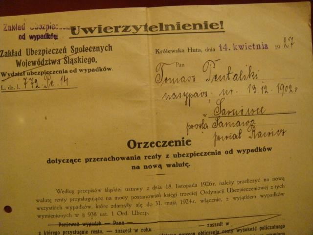 Zakł.UBEZP.Woj. ŚLĄSKIEGO- KRÓLEWSKA HUTA -1927 r.
