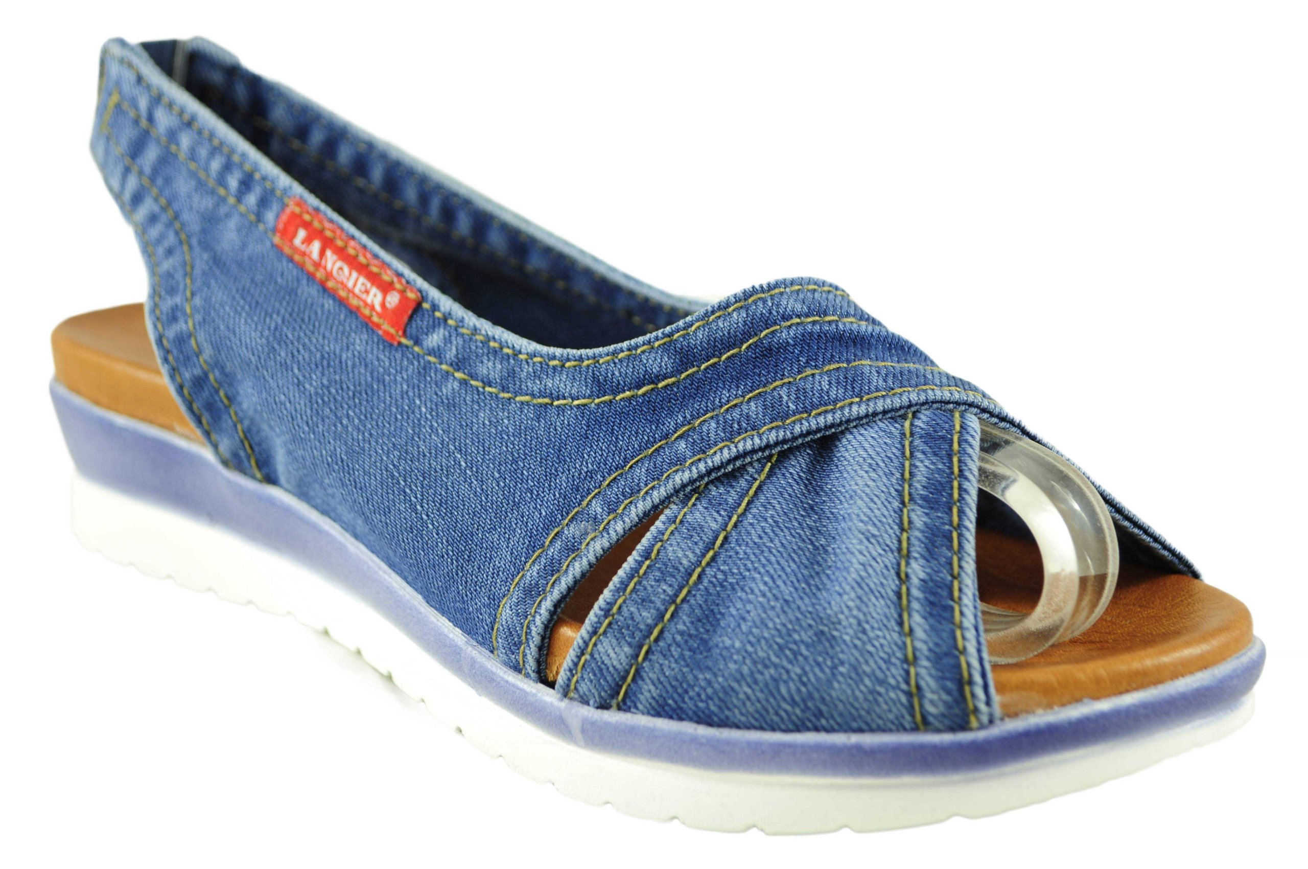 e14c0cc13c57e Lanqier płaskie sandały jeans denim HIT 42C210 39 - 7314170592 ...