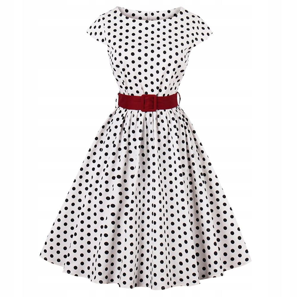 1a9f7c37 Sukienka PIN UP retro W GROCHY z paskiem VINTAGE - 7605614405 ...