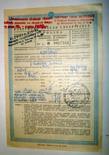 POLISA Ubezpieczenia AC Forda Taunusa z 1974r.