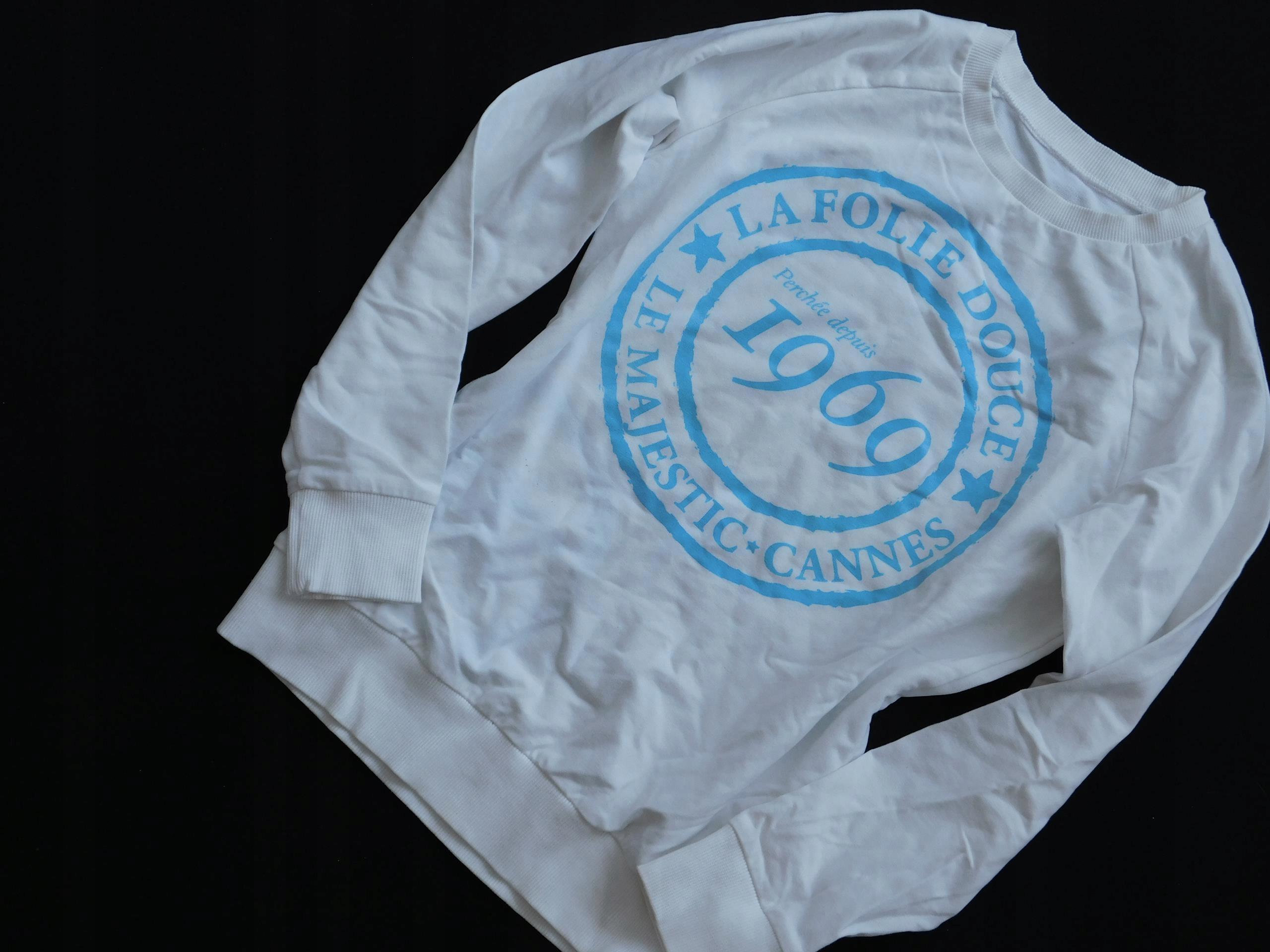 1001pl44 _ biała bluza niebieski NAPIS _ S _