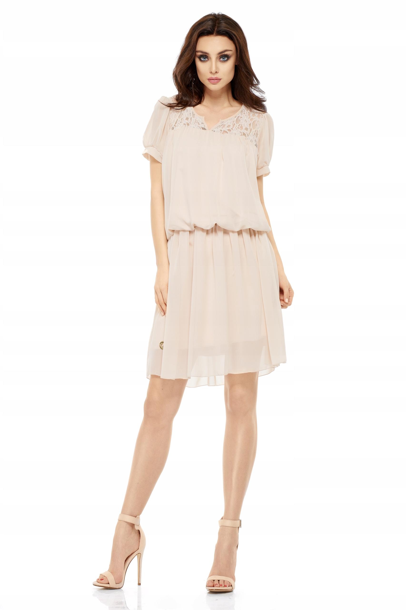 8308d2195c Sukienka koktajlowa z koronkową wstawką L Beżowy - 7442404026 ...