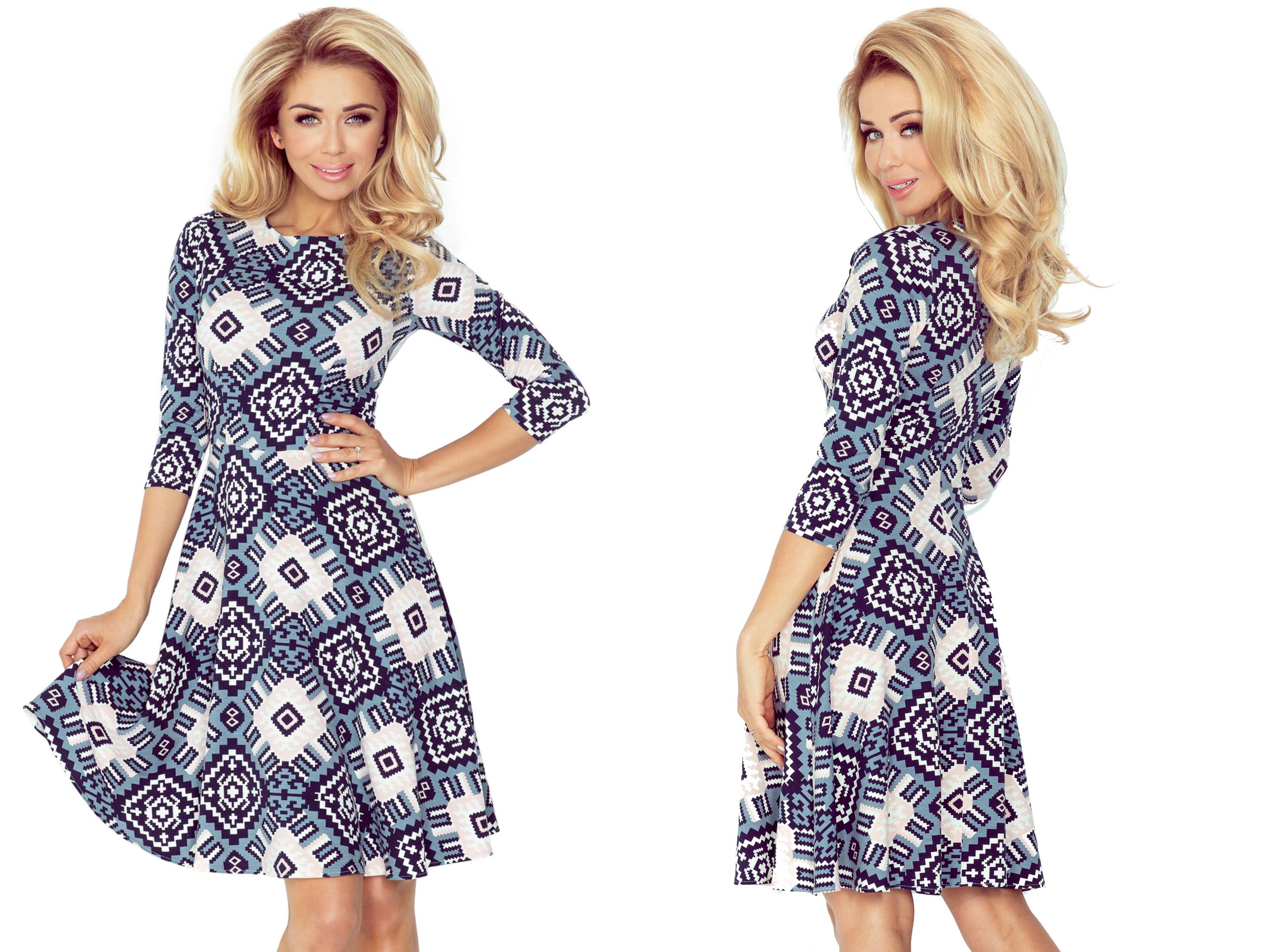35fd35c67e ZJAWISKOWA Sukienka W GRANATOWE ROMBY 49-17 XL 42 - 7199266910 ...