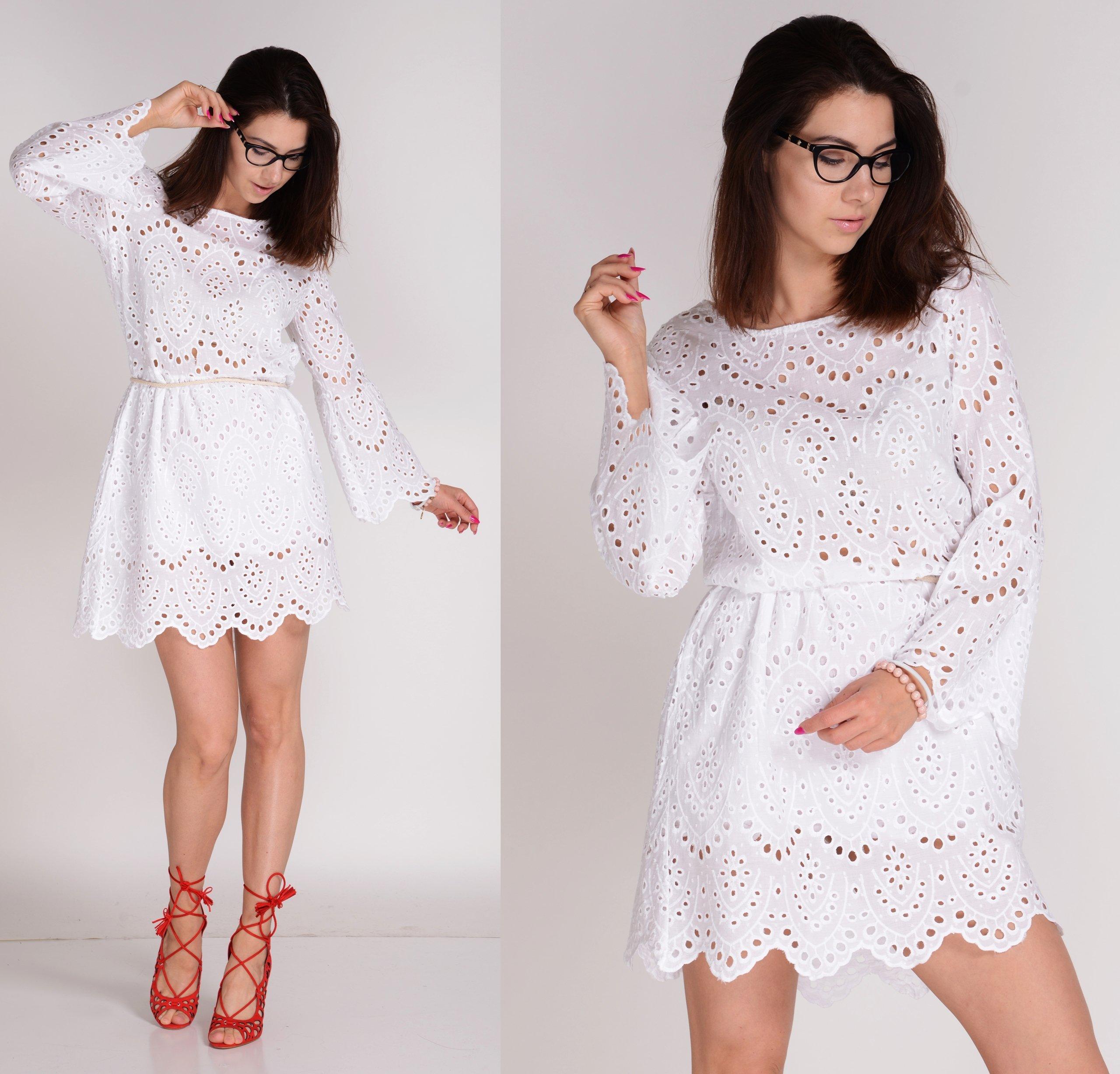 b0b96216 Włoska Sukienka BOHO biała ażurowa koronka UNI - 7412095469 ...