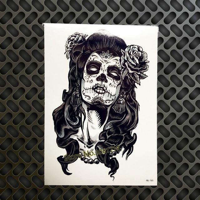 Tatuaż Zmywalny Santa Muerte Czarna Duża 7338935774