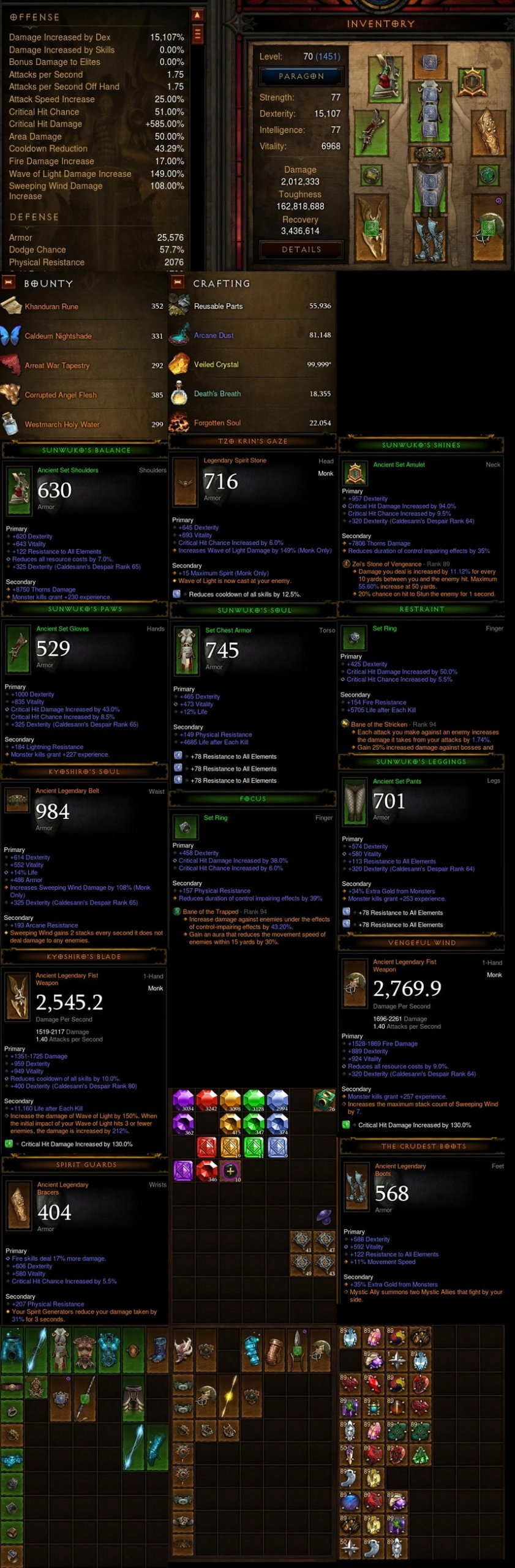 Diablo 3: RoS Konto p 1451 Monk Kosmiczne Skrzydła