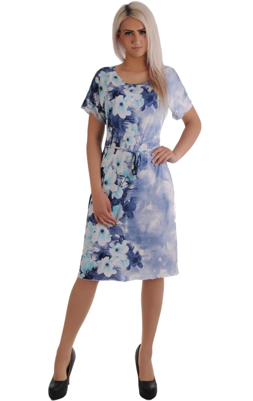 b7a2103864 N17 Zwiewna niebieska sukienka w KWIATY R52  42-52 - 7378657748 ...