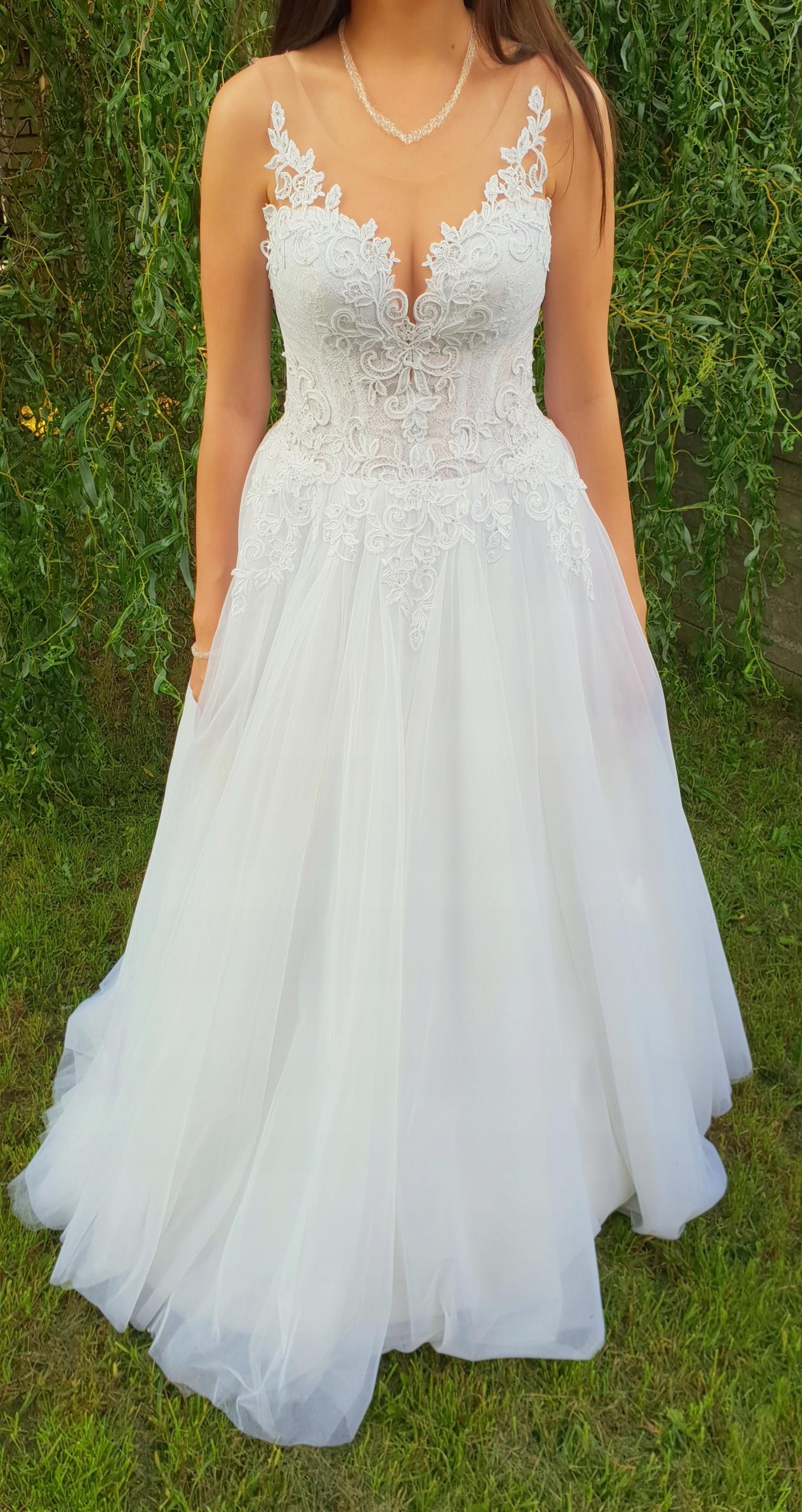 Unikalne Suknia ślubna kryształki Swarovski rozmiar 36/38 - 7676926847 UY73