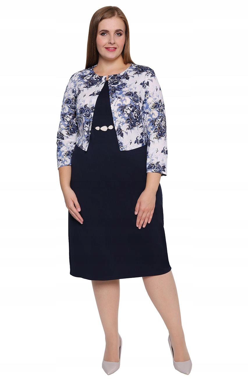 624c561671 Sukienka z imitacją żakietu w pozłacane kwiaty 60 - 7587924119 ...