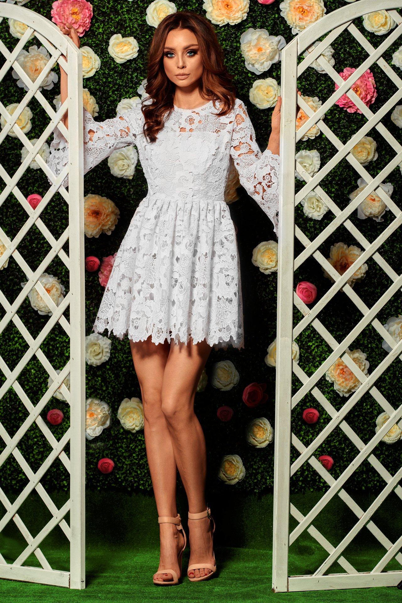 5ce24a03f5 ROMANTYCZNA sukienka MINI Z KORONKI WESELE S ekru - 7367463157 ...