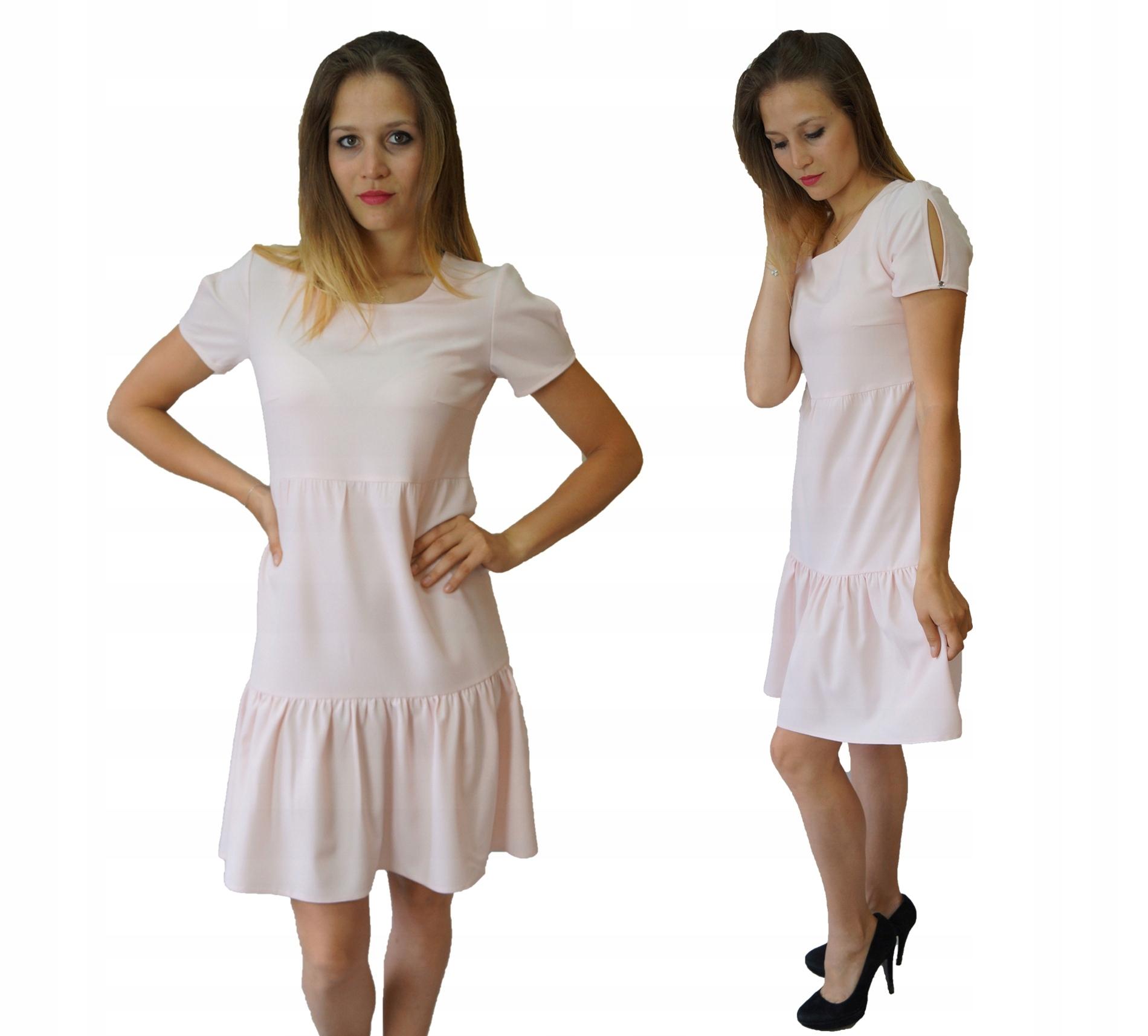 c85984695f Sukienka Letnia Trapez Falbana Pudrowy Róż rozm.36 - 7438839389 ...