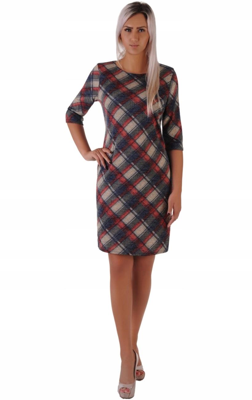 491df8dcb72b86 N39 Modna sukienka w czerwoną KRATKĘ (42-50) R50 - 7551403689 ...