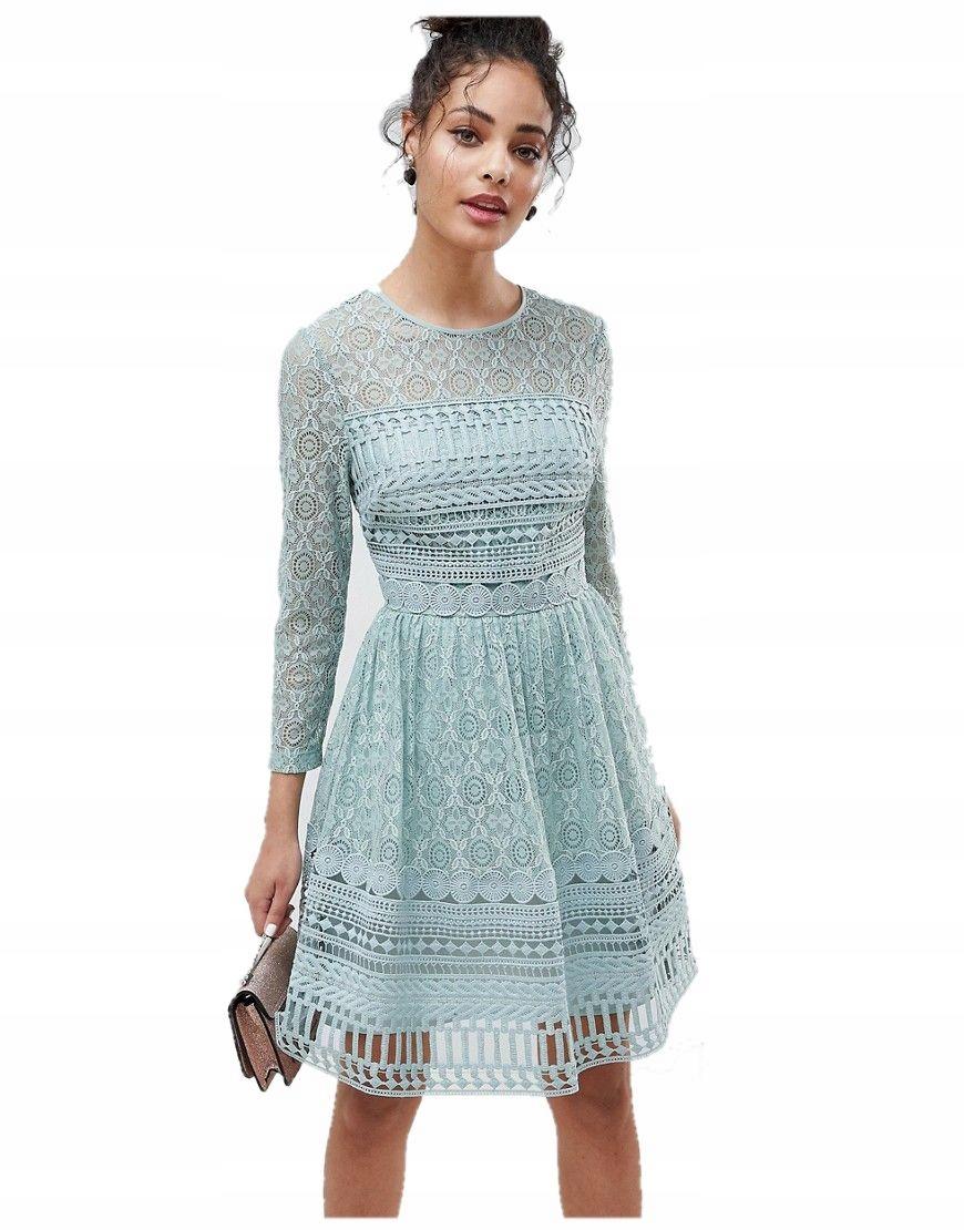e0e9e35ce6 sukienka MINI miętowa KORONKOWA koronka 3XL 46 - 7387743846 ...