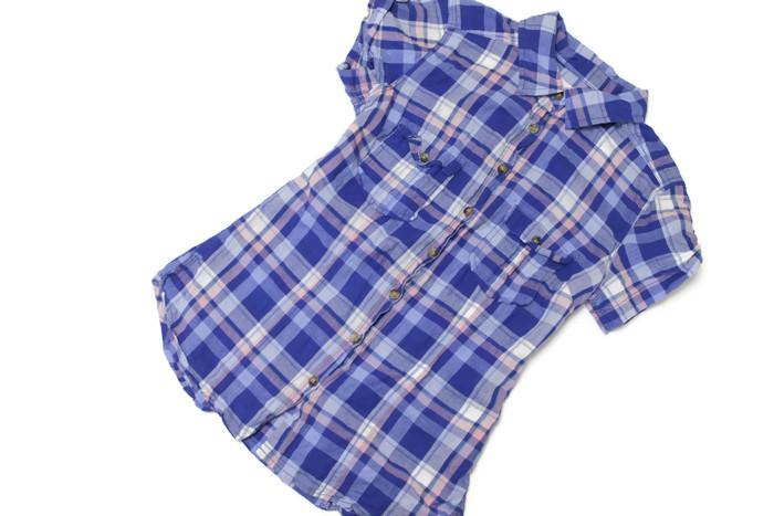 a4a37e6c709a3b 26268*H&M koszula krata GRANAT różowa r. 34/XS - 7301266761 ...