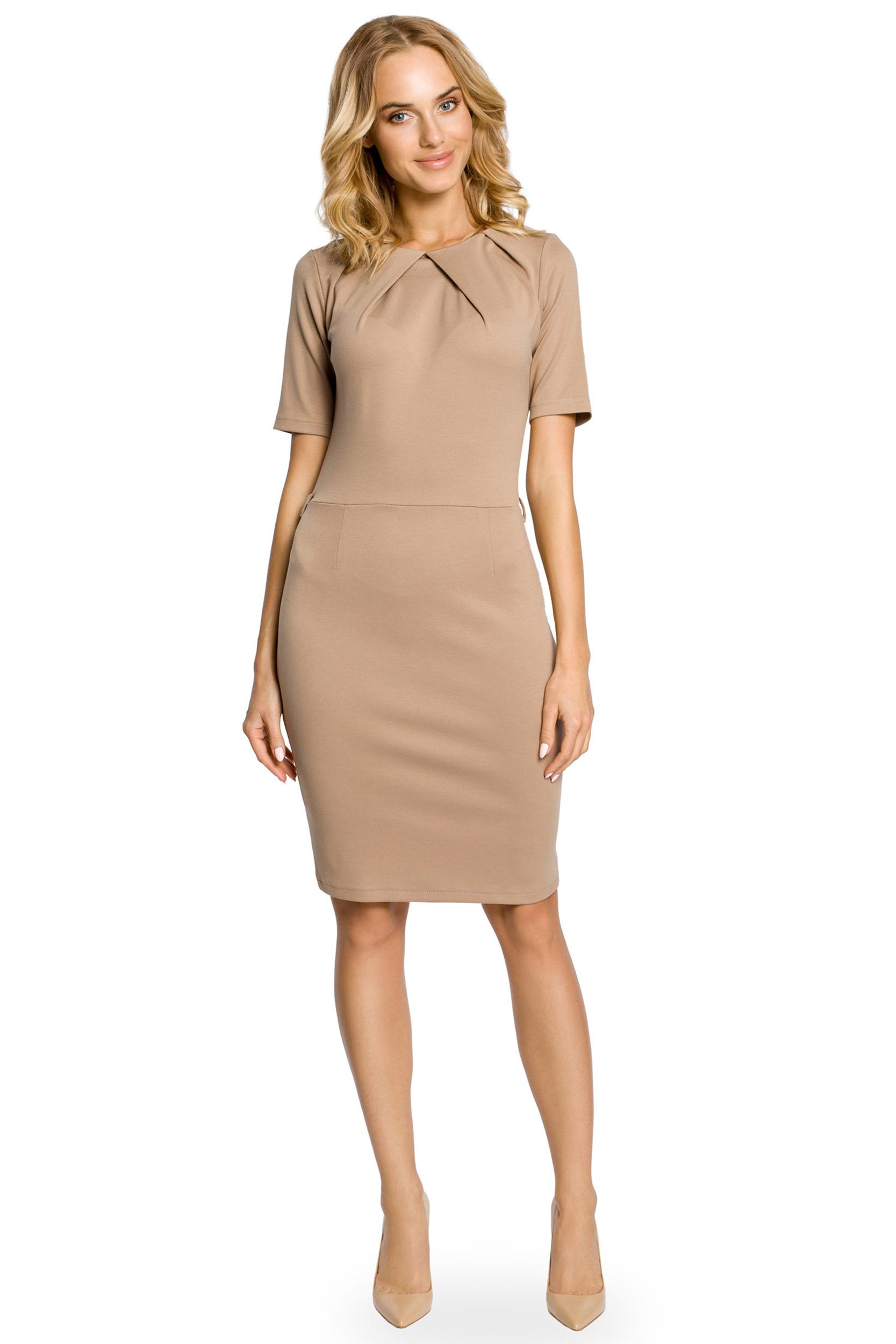 c490d7d52a Klasyczna elegancka sukienka ołówkowa - cappuccino - 7344117905 ...