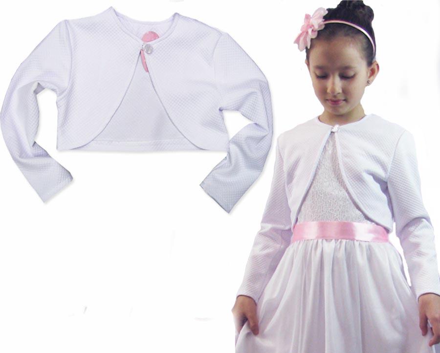 5bc2e612f9 128 BOLERKO białe żakiet do sukienki komunia BS163 - 7163771866 ...