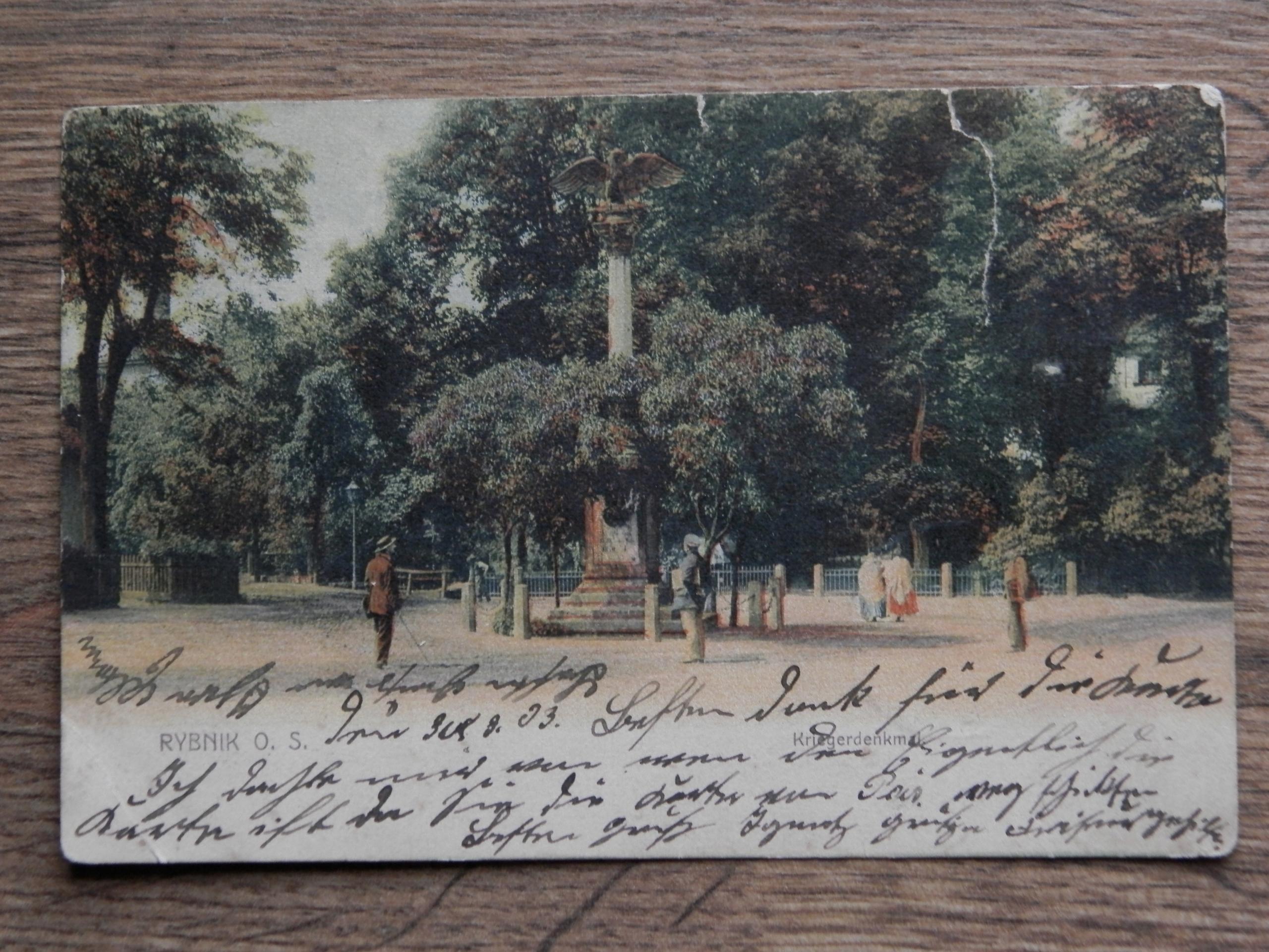 POCZTÓWKA RYBNIK O/S 1903 KRIEGERDENKMAL