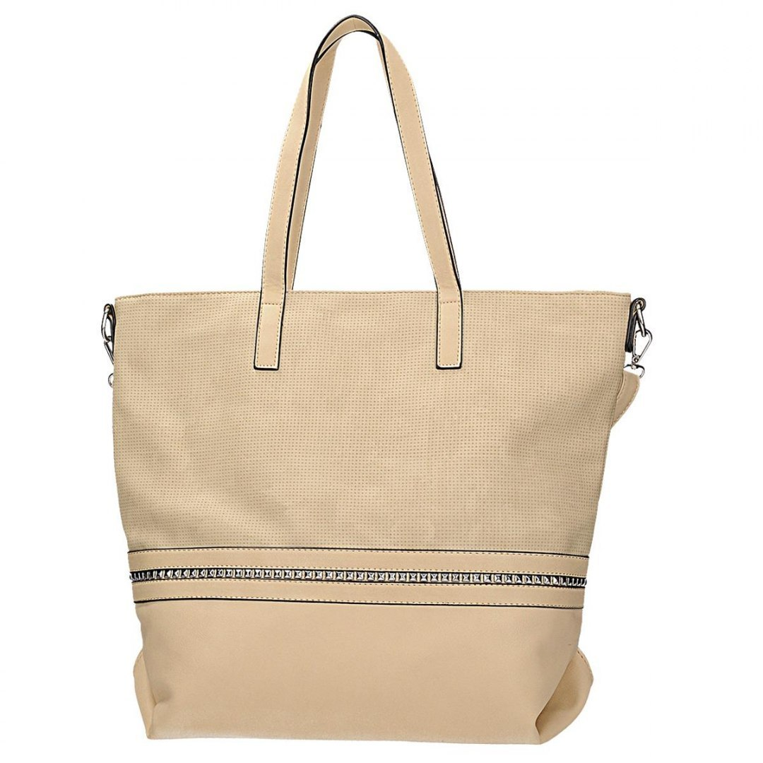 8ddc71a671d05 Klasyczna torebka damska w kolorze beżowym z ozdob - 7394208136 ...