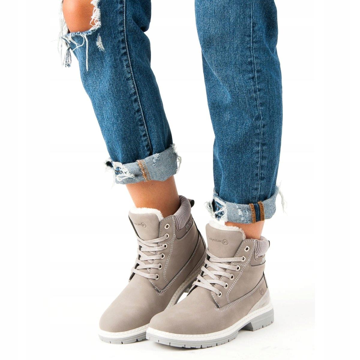 Szare botki wsuwane zamsz buty damskie 100 917 41