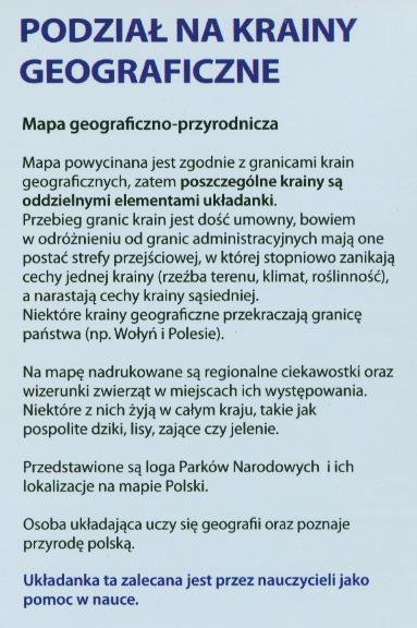 Układanka Puzzle Krainy Polski Geograficzne 74 Ele 7704808652