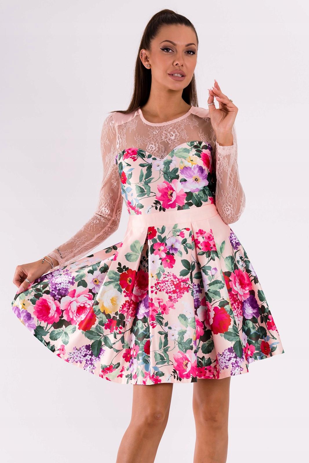 0fff2d0618 Sukienka rozkloszowana w kwiaty - jany róż M - 7378299143 ...