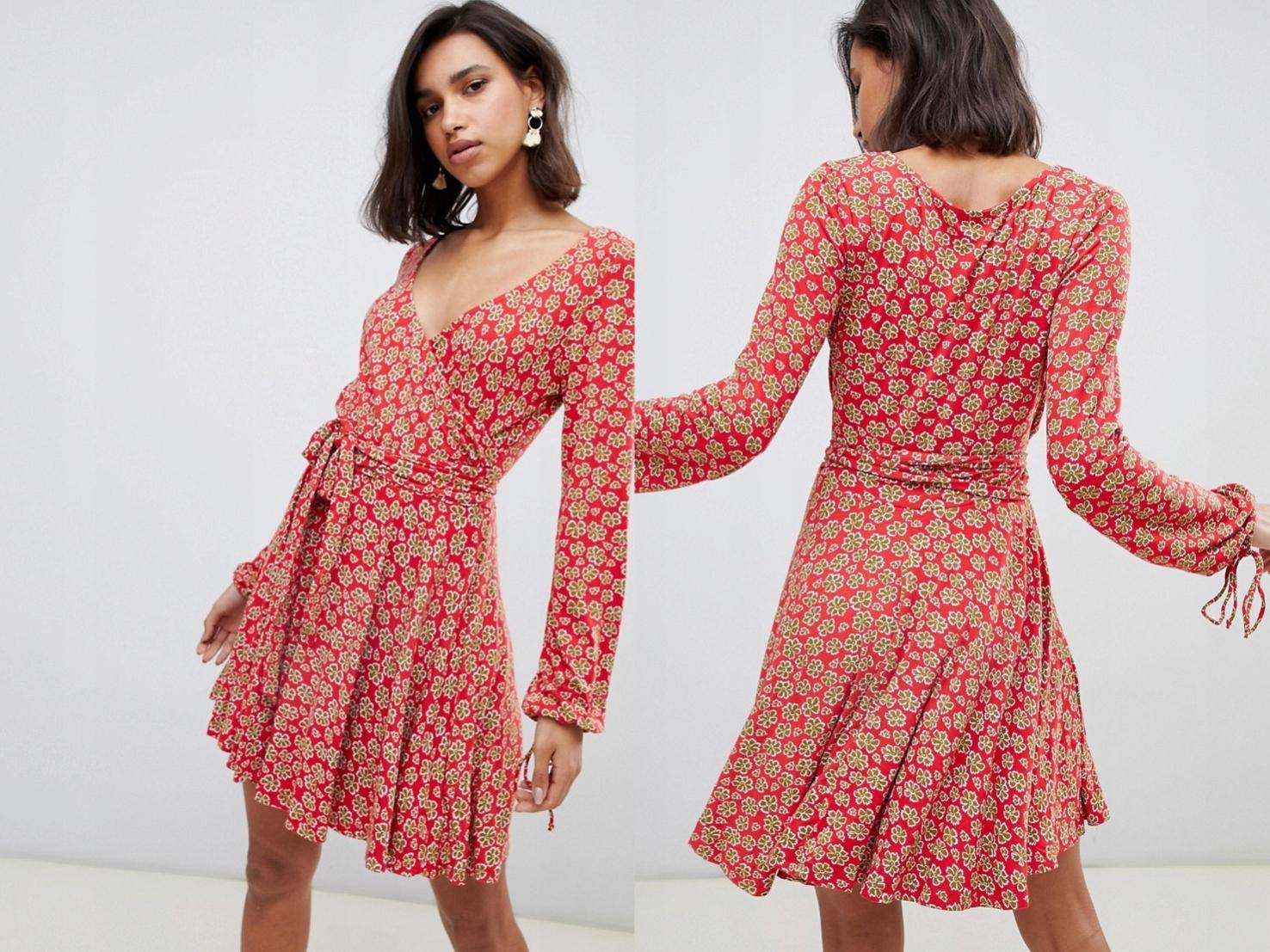3b88dffe24 Free People czerwona mini sukienka kwiaty XS 34 - 7696548297 ...