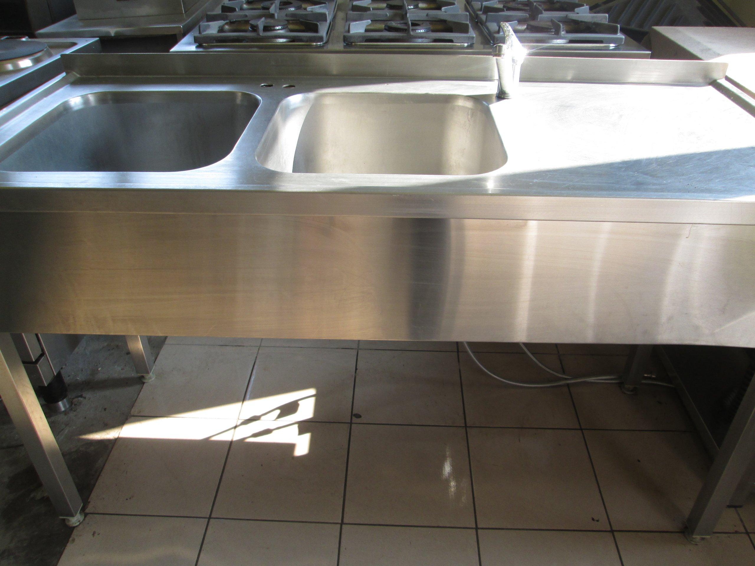 Super basen , zlew gastronomiczny dwukomorowy se stołem - 7283349508 BH57