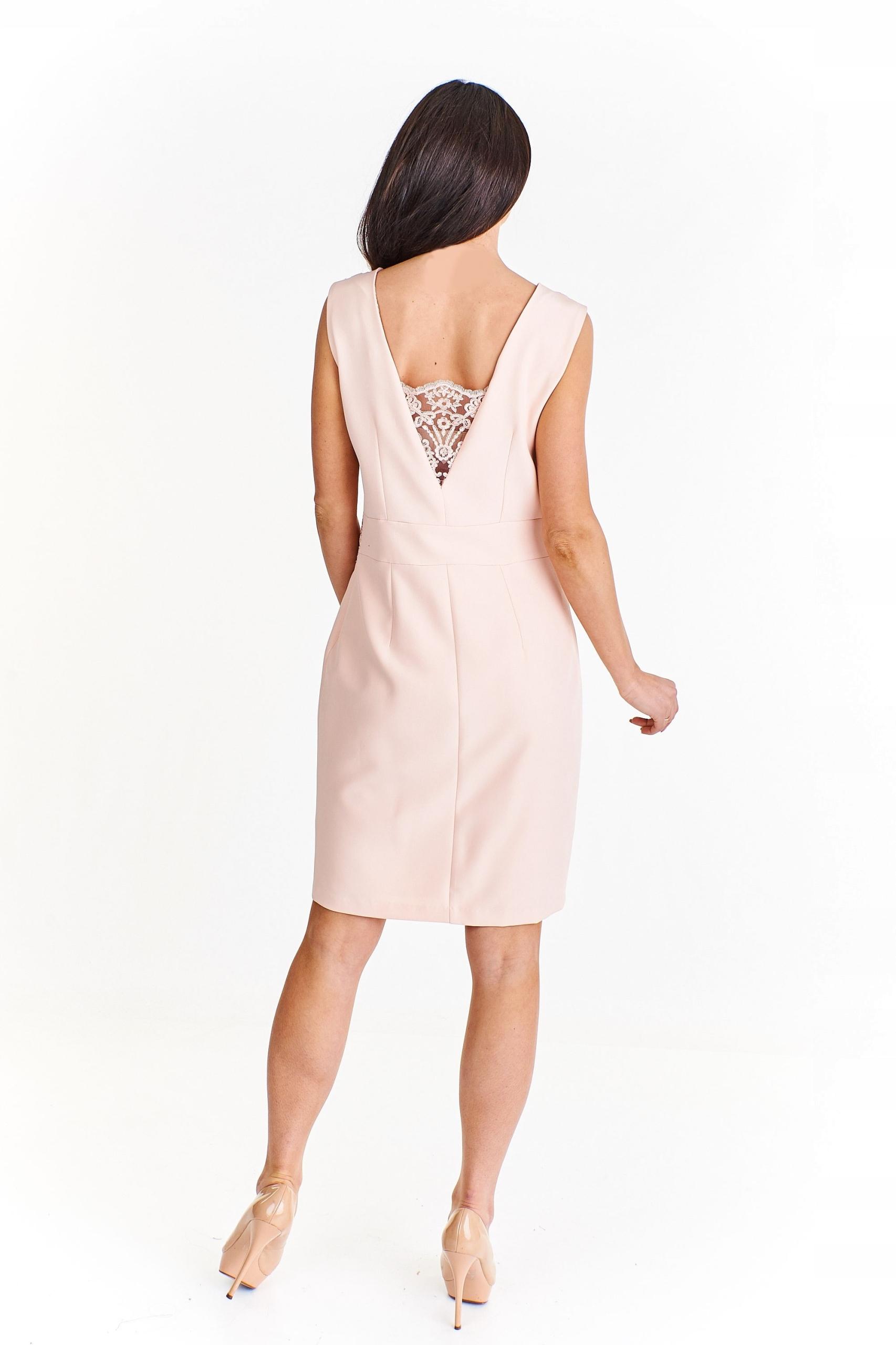 d6e76e42 Ołówkowa sukienka z koronkowymi wstawkami Różowy 4 - 7444217954 ...