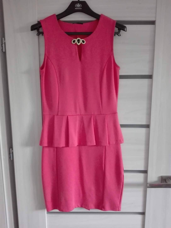 60ae048694 Sukienka wesele MOHITO różowa baskinka falbana 38 - 7547426135 ...