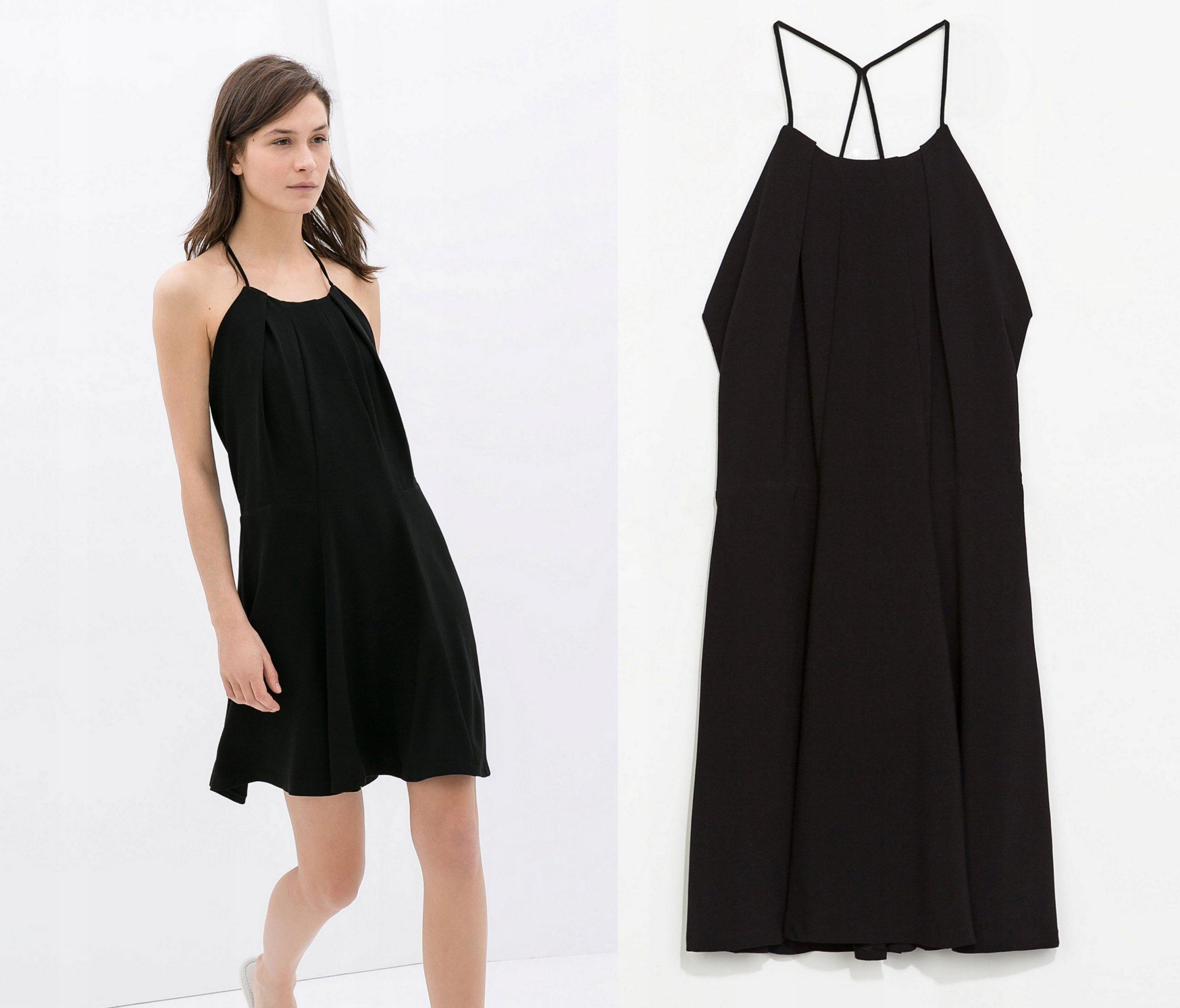 czarna elegancka sukienka na ramiaczka midi zara