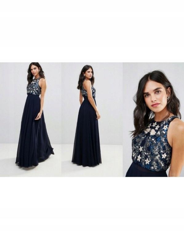 202d3f2accf01 suknia sukienka Asos długa maxi cekiny 38M - 7699076430 - oficjalne ...