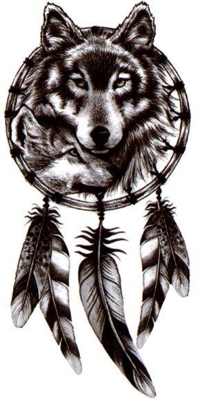 Wilk Dreamcatcher łapacz Snów Tatuaż Z Wilkiem M11