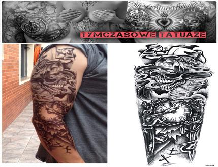 Tatuaż Na Rękę 45cm X 15cm Rękaw 3d Czaszka Zegar
