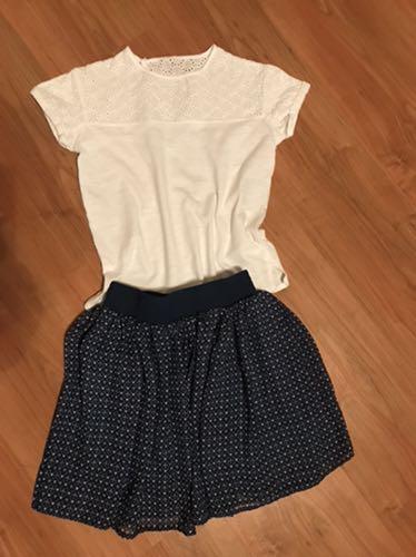 Bluzka biała Zara spódniczka George 122/128