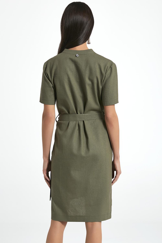 c0daad2d57 Ennywear 250001 lniana luźna sukienka khaki 38 - 7301180232 ...