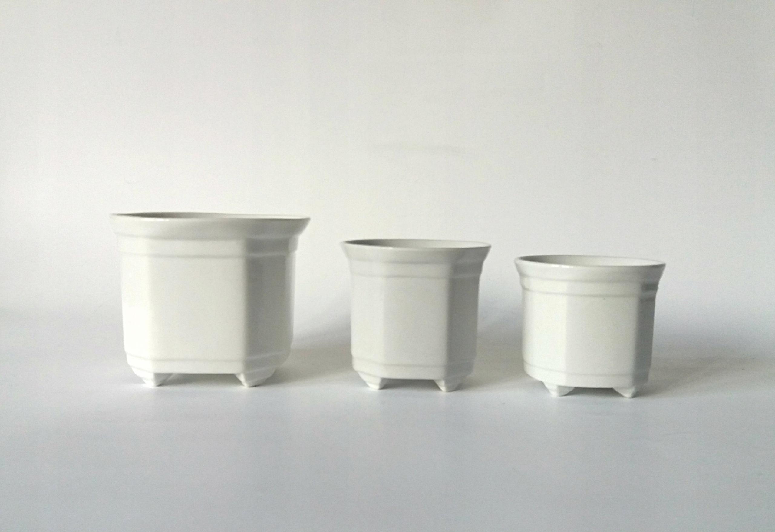 Doniczki Białe Ceramiczne Komplet 3 Szt Bcm