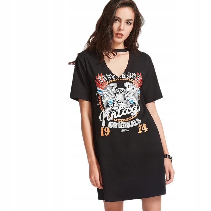 e8b082a82f Czarna prosta sukienka rockowa choker dekolt V XS - 7082746019 ...