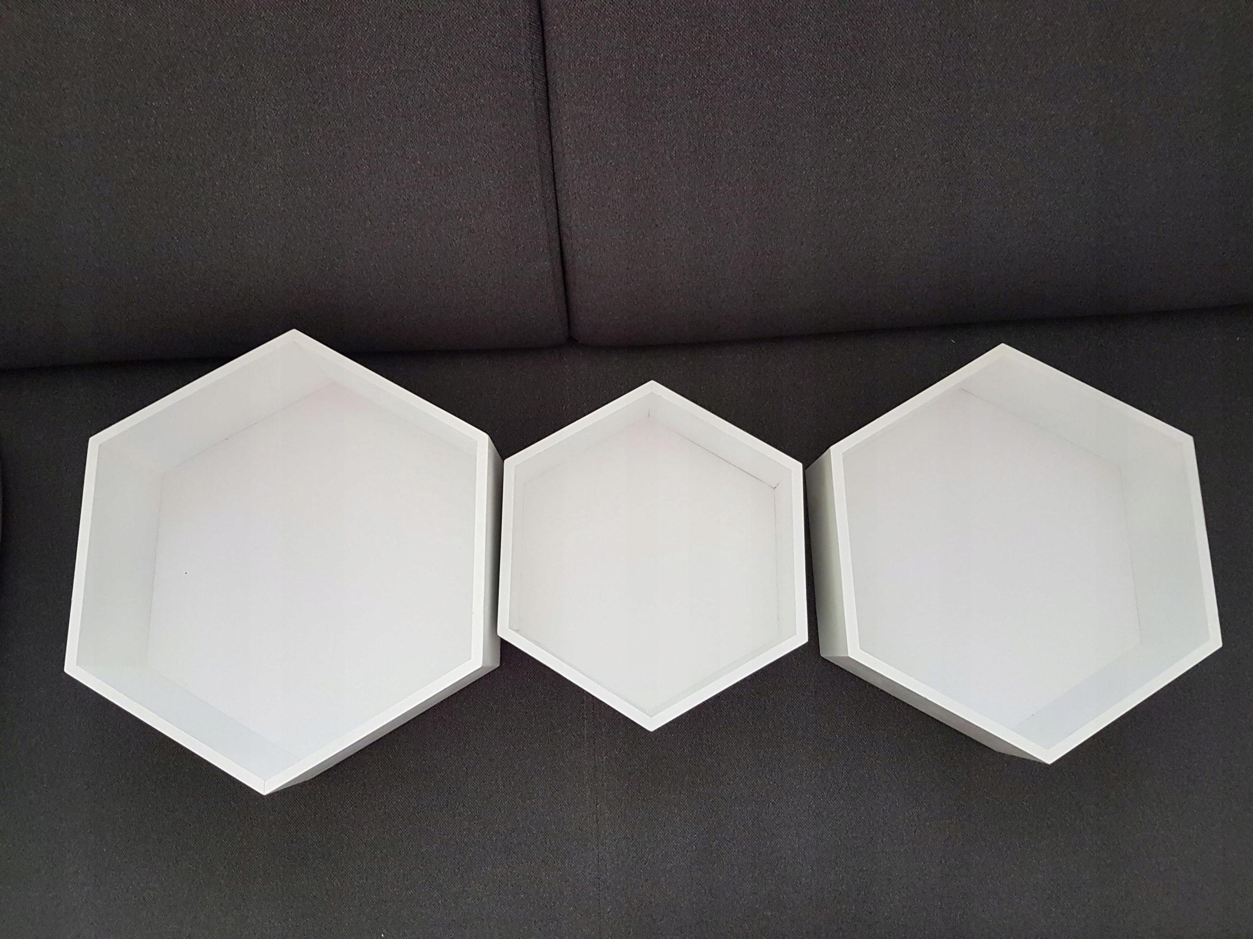 Zestaw Drewniane Półki 3 Szt Plaster Miodu Białe