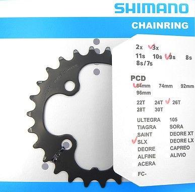 SHIMANO SLX LX FC M660 T661 ZĘBATKA KORBY 3x9s 26T