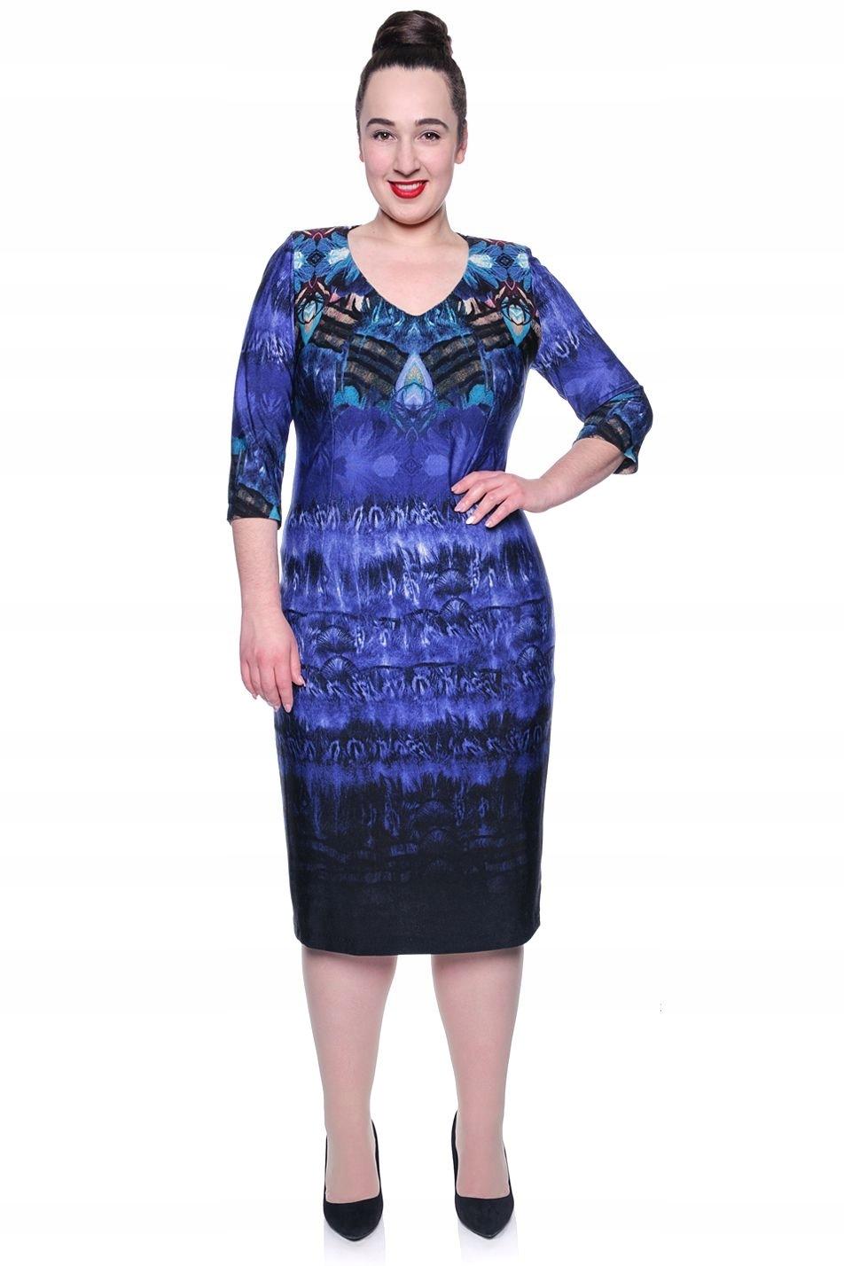9ff52ca5be Niebieska cieniowana sukienka z dzianiny 56 - 7471146142 - oficjalne ...