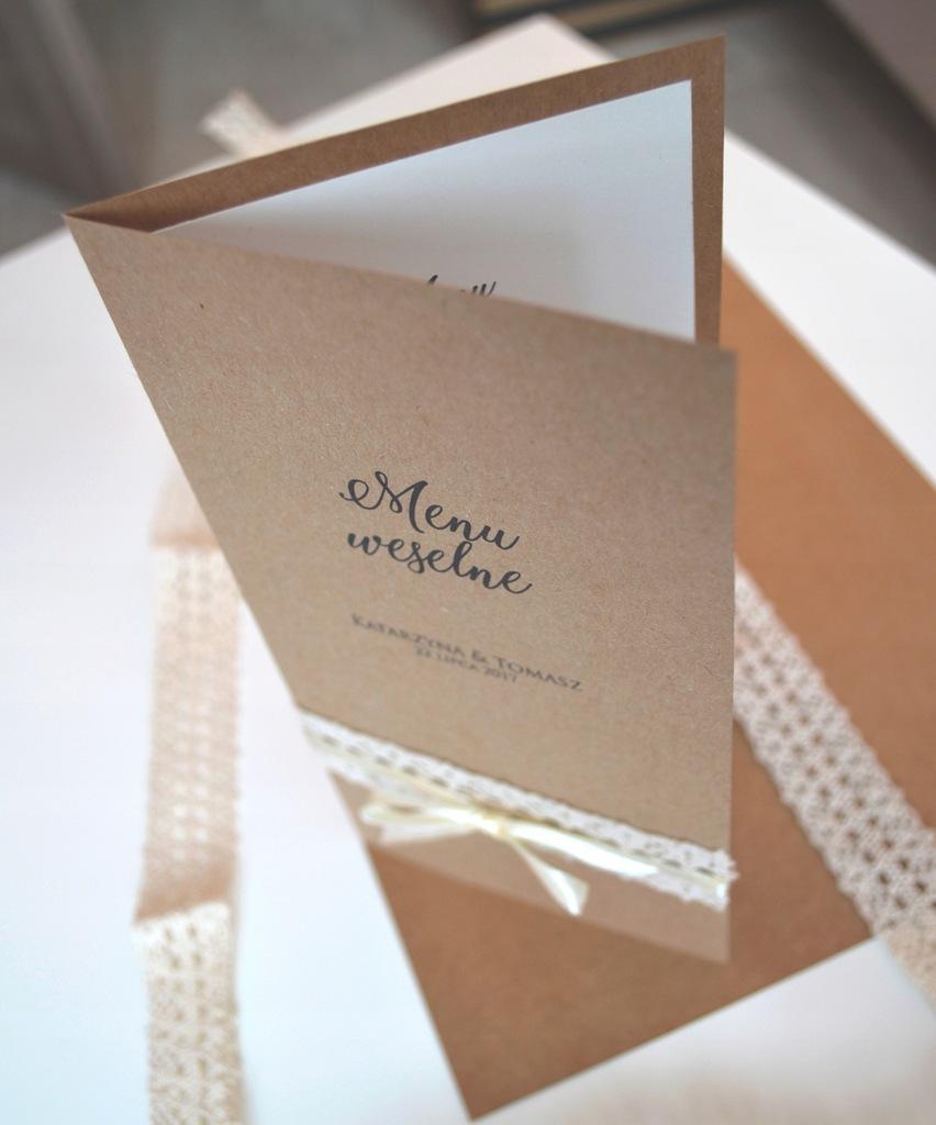 Rustic | Menu weselne ślubne - Ręcznie robione